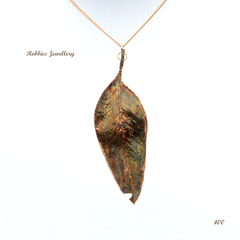 Genuine eucalyptus leaf pendant necklace - copper plated