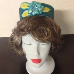 "Pillbox Hat - ""Emerald 'n' Leather"""