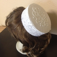 "Pillbox Hat - ""White Lace"""