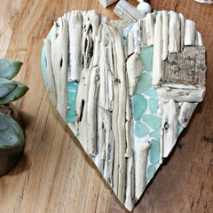Driftwood heart with seaglass