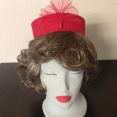 "Pillbox Hat - ""Red Sparkles"""