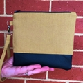 Camel - Wristlet with leather accent