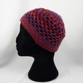 Reds and purples 100% acrylic crocheted hat