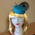 "Pillbox Style Fascinator Mini Hat - ""Peacock Green"""