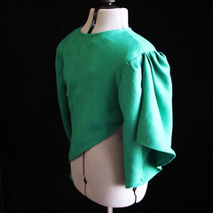 Green Linen Abstract Jacket Tailor-Made