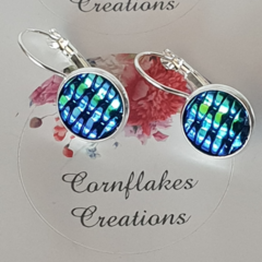 Peacock Coloured Woven Look Earrings FREE POSTAGE