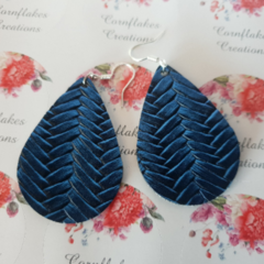 Blue Braided Look Faux Leather/Vegan Leather Earrings. FREE POSTAGE