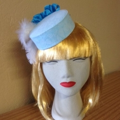 "Pillbox Style Fascinator Mini Hat - ""Blue FrouFrou"""