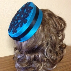 "Pillbox Hat - ""Teal Black Flowers"""