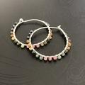 Multi Tourmaline sterling silver hoop earrings.
