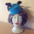 "Pillbox Hat - ""Teal Roses"""