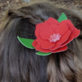Red Faux Leather/Vegan Leather Hair Clip