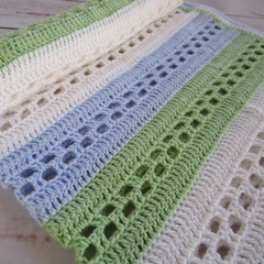 Spring crochet baby blanket cream, lime green, blue, boy birthday gift, travel