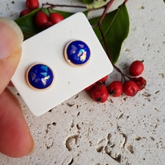 Rose Gold Studs, Polymer Clay Earrings, Tiny Round Studs, Blackwood Lily