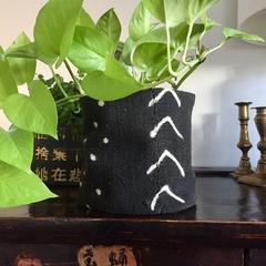 African mud cloth pot plant bucket or storage