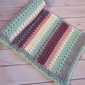 Crochet baby blanket striped grey green pink plum cream; baby shower gift travel
