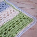 Spring crochet baby blanket cream, lime green, blue, boy birthday gift, travel