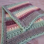 Crochet baby blanket striped grey green pink plum cream; baby shower gift travel