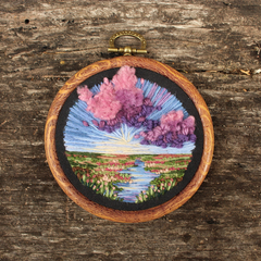 Sunset Wetland Landscape, Hand embroidery in Hoop