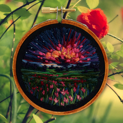 Sunset Landscape Fields, Hand embroidery in Hoop