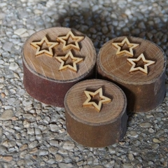 Natural wooden Star Playdough stamps