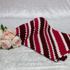 White, Maroon and Dark Pink Crochet Blanket