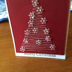 """Xmas Tree. Hand embroidered with """"lights"""""""