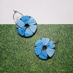 ADORA FLORA BLACK - SMALL DISC HOOPS