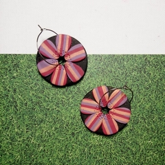 ADORA FLORA BLACK - DISC HOOPS