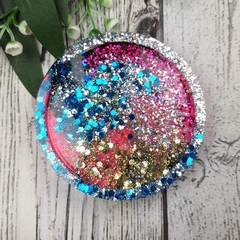 Round Small Coasters -  Glitter For Drink or as a Paperweight - SINGLE- Resin