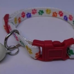 Cat Collar - Colourful Paw Prints on White