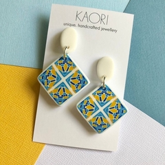 Polymer clay earrings, statement earrings in blue and yellow tiles