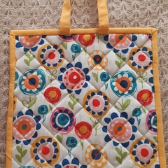 'Poppy' Pot Holder (Yellow/orange trim)