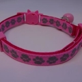 Cat Collar - Hot Pink with Silver Paw Prints