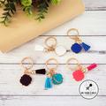 5 x  Gold Keyrings - Teal, Pink, Blue, White & Black. Bulk Teacher Gift Xmas