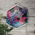 Mug Coasters - PINK TEAL Glitter For Drink or as a Paperweight - SINGLE- Resin