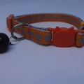 Cat Collar - Orange with Silver Paw Prints