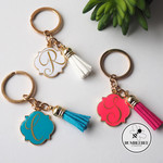 5 x  Gold Keyrings - Teal, Pink, Blue, White & Black. Bulk Teacher Gift Xmas
