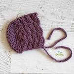 Vintage Grape Hand Crocheted  Baby Bonnet Beanie Hat Photo Prop 0-3 months