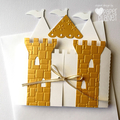 Gold Castle Greeting Card. Birthday or baby shower card. Little prince, princess