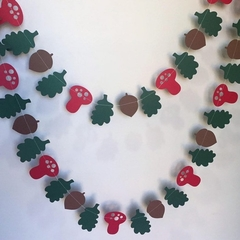 Woodland garland. Forest banner, acorn, oak leaf, toadstool. Birthday party.