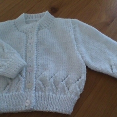 Babies White Cardigan made to fit 3 to 6 months.