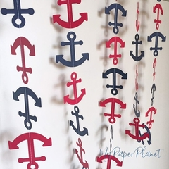 Nautical Anchor Garland. Red & navy blue,  birthday party banner, baby shower.