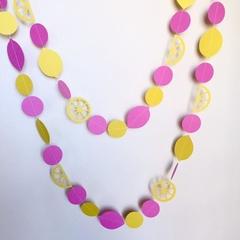 Pink Lemonade garland, Yellow lemons. Baby shower, birthday party, cake smash.
