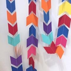 Bright Chevron garland. Rainbow arrow head banner. Birthday party, baby shower.
