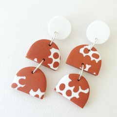 "PoLKA DoT Collection  ""Rust"" - NEGATIVE Drop Studs"