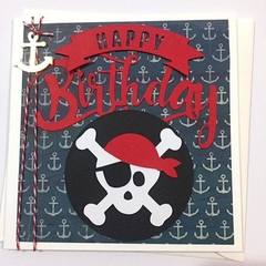 Pirate Birthday card. Pirate party, happy birthday, anchor card. Skull card.