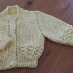 Babies Yellow Cardigan to fit 0 - 3 months.