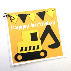 Little Construction Digger Birthday card, Happy birthday, first birthday party.