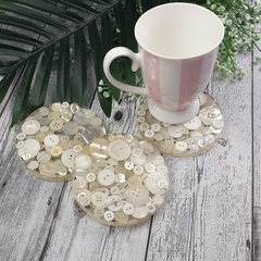 Mug Coasters - WHITE Buttons For Drink or as a Paperweight - SINGLE- Resin